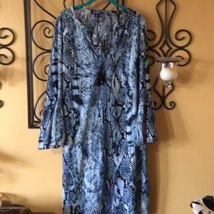 Roaman's blue snake print dress